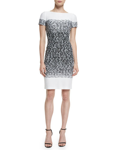 Papillons Ombre Knit Sheath Dress, Caviar/Bianco