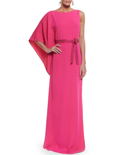 Classic Cady Gown w/ Sequined Belt, Cerise