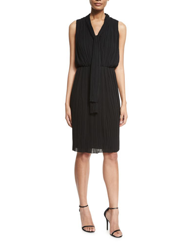 Georgette Fortuny Pleated Tie-Neck Dress