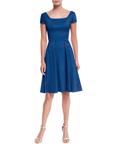 Short-Sleeve Crepe Fit-And-Flare Dress