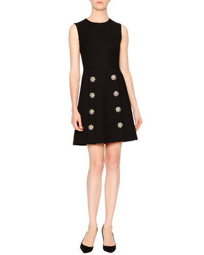 Sleeveless Embellished-Daisy Dress, Black