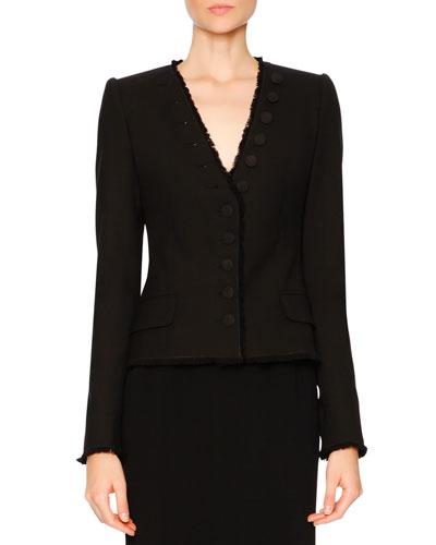 V-Neck Button-Detail Jacket, Black
