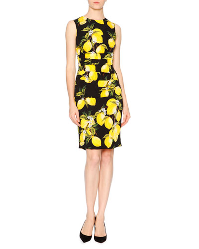 Sleeveless Lemon-Print Sheath Dress, Yellow/Black