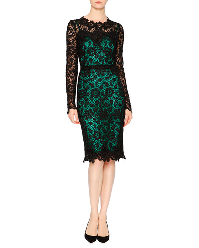 Long-Sleeve Lace Dress W/Contrast Slip, Black/Green