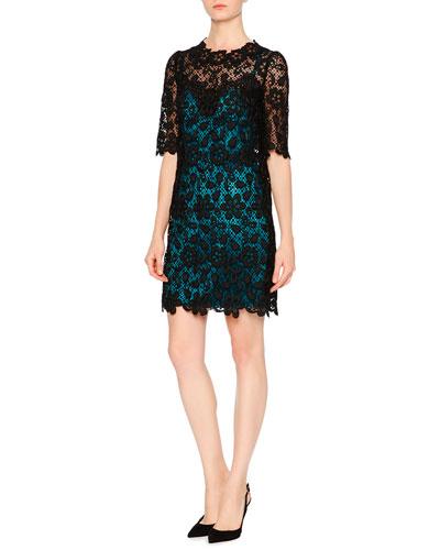Floral-Lace Dress W/Contrast Slip, Black/Turquoise