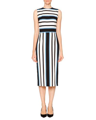 Sleeveless Line-Bar Stripe Dress, Blue/White/Black