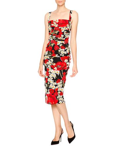 Poppy & Daisy Folded-Pleat Sheath Dress, Red/Black/White