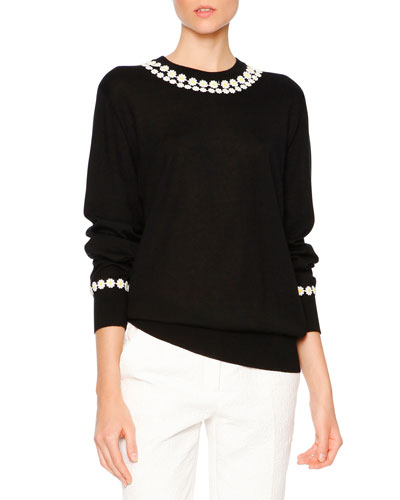 Daisy-Applique Long-Sleeve Sweater, Black/White/Yellow