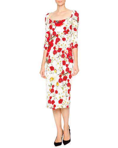 Open-Neck Poppy & Daisy Cady Sheath Dress, Red/White/Yellow