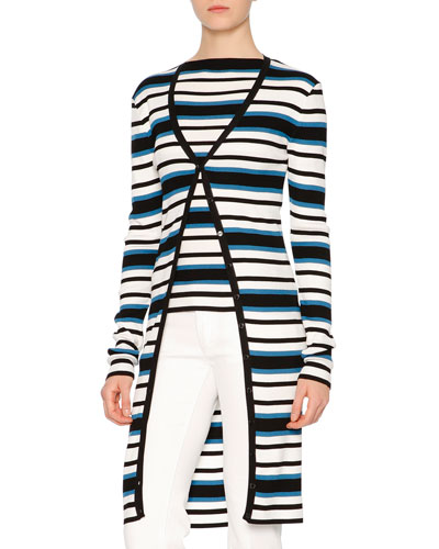 Long-Sleeve Striped Cardigan, Blue/White/Black