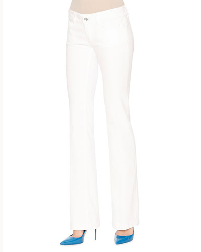Mid-Rise Boot-Cut Jeans, White