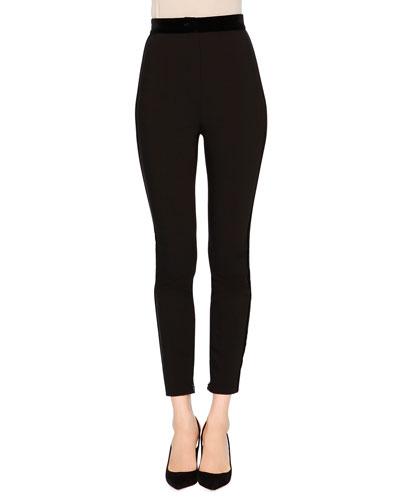 High-Waist Skinny Trousers, Black