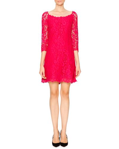 Cordonetto Lace Sheath Dress, Shocking Pink