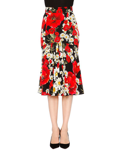 Poppy & Daisy Flounce Skirt, Red/Black/White