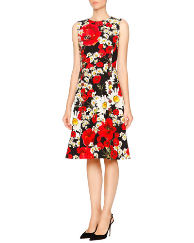Sleeveless Poppy & Daisy Print Dress, Red/Black/White