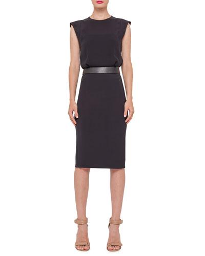 Sleeveless Banded-Waist Sheath Dress, Black