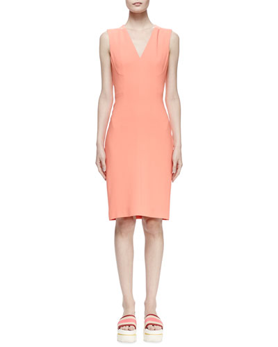 Simona Sleeveless Cady Sheath Dress, Peony