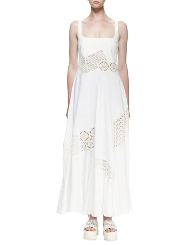 Sleeveless Maxi Dress W/Broderie Anglaise Trim, Ivory