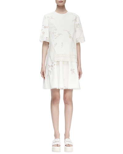 Half-Sleeve Layered Eyelet Dress, White