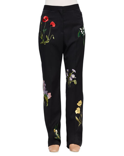 Floral-Embroidered Tuxedo Trousers, Black