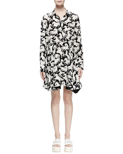 Lelia Horse-Print Shirtdress, Black