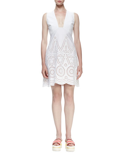 Sleeveless Deep-V Eyelet Dress, White