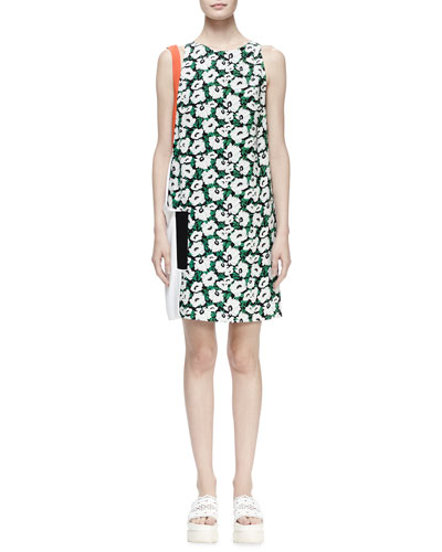 Odile Floral-Print Colorblock Shift Dress