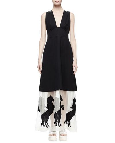 Sleeveless Tuxedo Dress W/Horse Hem, Black