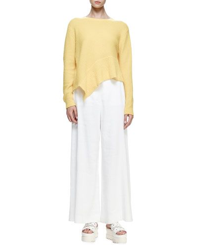 Jewel-Neck Asymmetric-Hem Sweater, Sun