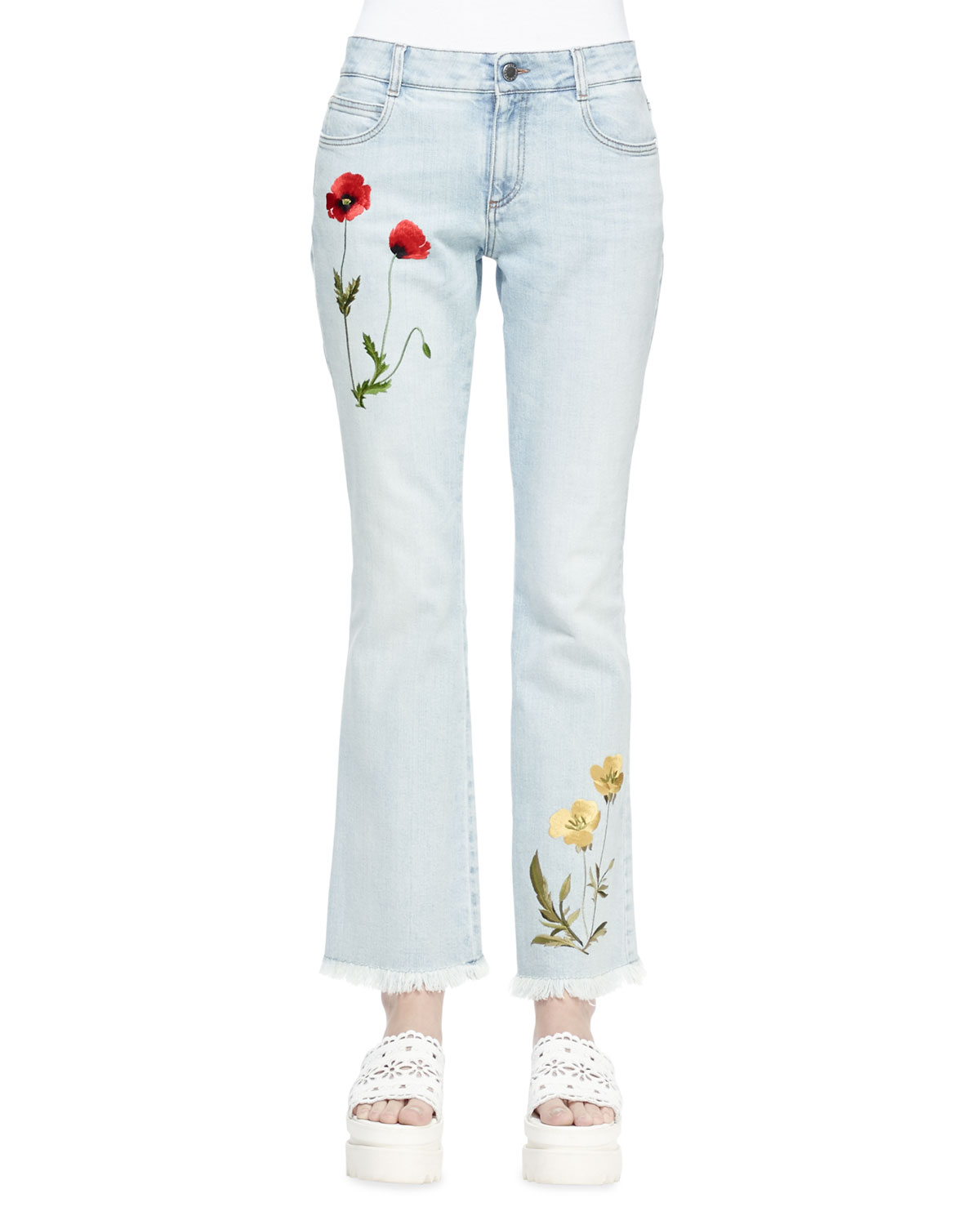 Floral-Embroidered Flare Jeans, Sun Fade Blue