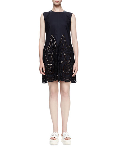 Noemie Sleeveless Eyelet Dress, Navy