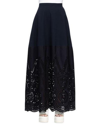 Broderie Anglaise Long Skirt, Navy