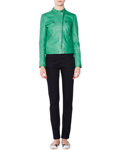 Asymmetric-Zip Leather Moto Jacket, Grass