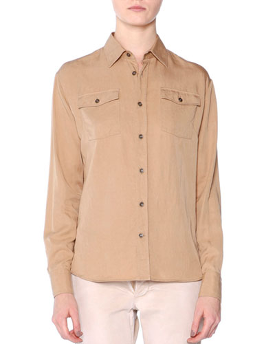 Long-Sleeve Button-Front Shirt, Chino