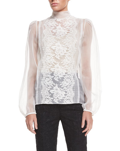 Long-Sleeve Sheer Blouse W/Lace Trim, Natural White