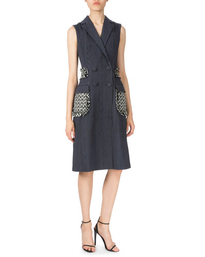 Pinstripe Long Vest W/Braided Detail, Navy/White