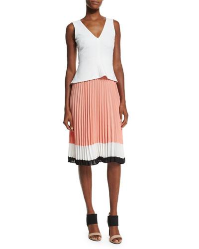 Sleeveless Colorblock Pleated-Skirt Dress, Optic White