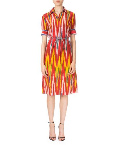 Short-Sleeve Belted Ikat-Print Dress, Multi Colors
