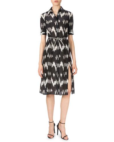 Short-Sleeve Belted Ikat-Print Shirtdress, Black/White