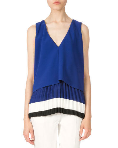 Colorblock Pleated-Hem Blouse, Cobalt