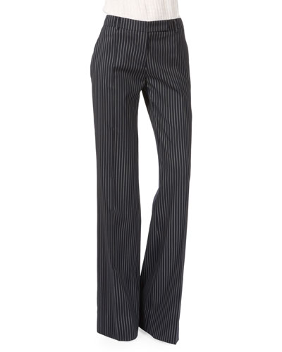 Wide-Leg Flat-Front Pinstripe Pants, Navy/White