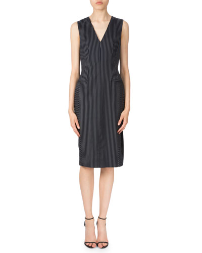 Sleeveless Pinstripe Sheath Dress, Navy/White