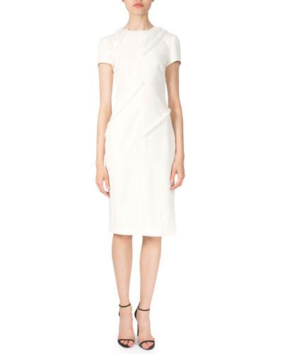 Short-Sleeve Fringe-Trim Sheath Dress, Natural White