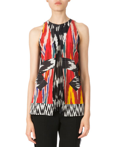 Sleeveless Pleated Ikat Blouse, Multi Colors