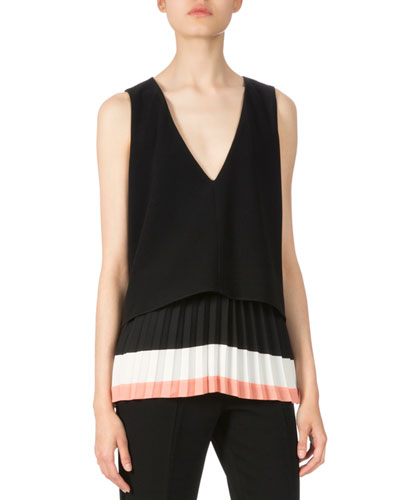 Sleeveless Colorblock Pleated-Hem Blouse, Black