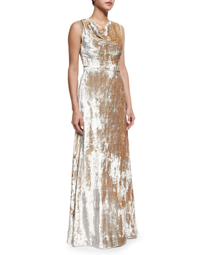 Crushed Velvet Cowl-Neck Gown, Silver
