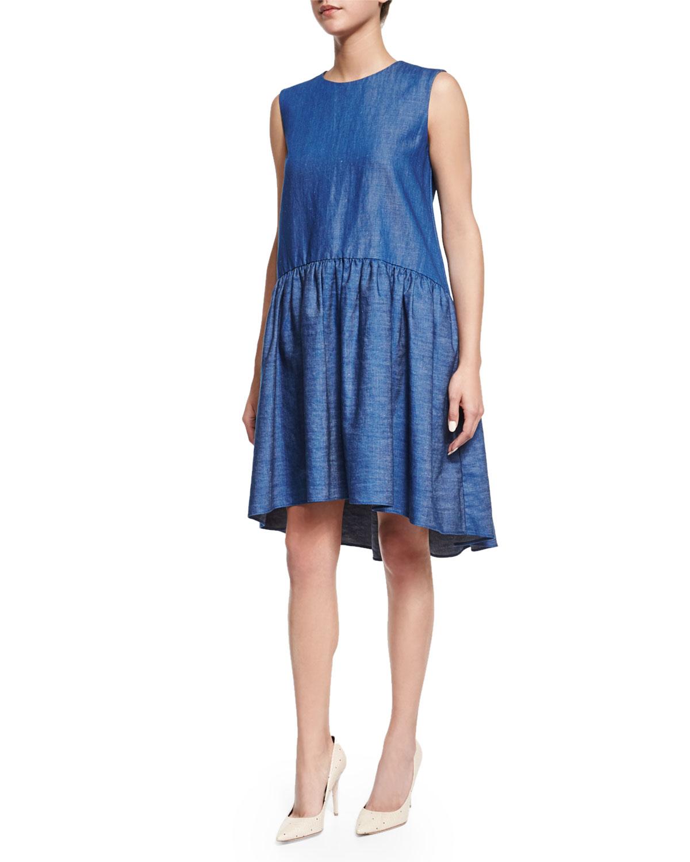 Sleeveless Peplum Denim Dress, Indigo