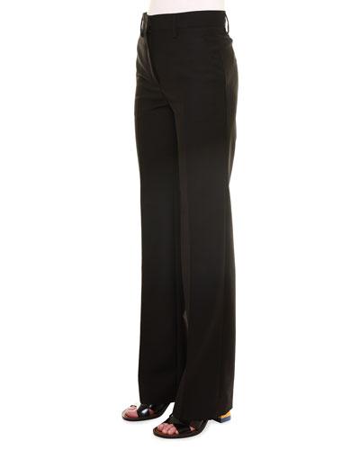 Alfred Mid-Rise Straight-Leg Pants, Black