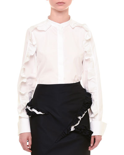 Ruffled Long-Sleeve Button-Front Blouse, White