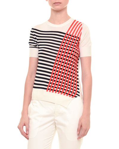 Short-Sleeve Cross-Striped Sweater, White/Black/Red